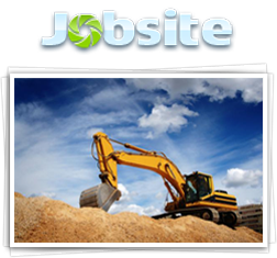 Jobsite logo and backhoe